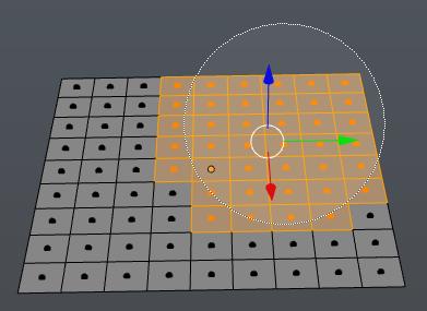 Auswählen von Faces einer Grid Plane mit der Kreisauswahl