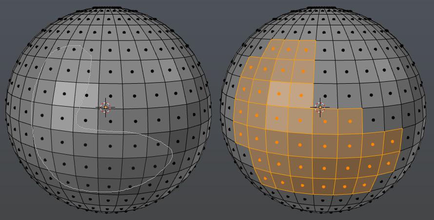 Auswählen von Faces einer Sphere mit dem Lasso