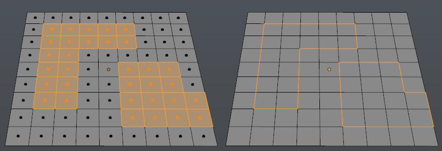 Select Boundary Loop konvertiert Faces in eine Umrandung aus Edges