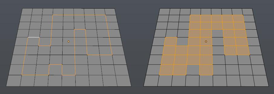 Select Loop Inner-Region konvertiert eine Umrandung aus Edges in eine Faceauswahl