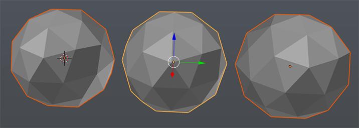 Aktive (gelb) und selektierte (orange) Objekte in Blender