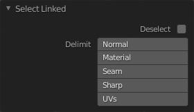 Im Select Linked Delimit Menü kannst du genauer auswählen, welche Elemente du selektieren möchtest