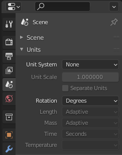 Change Blender's Unit System to None