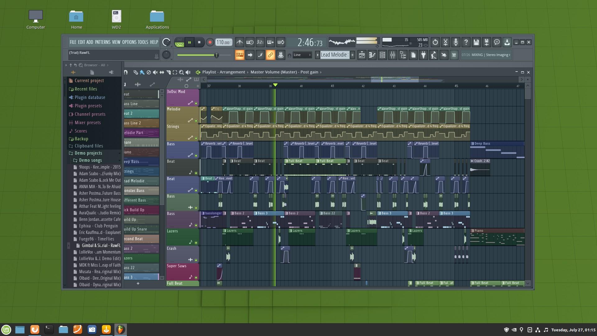 FL Studio 20 running in Lutris on Linux Mint