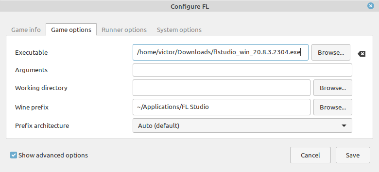 Configuring the Game Options in Lutris for FL Studio