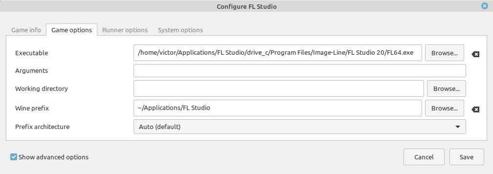 Selecting the FL Studio .exe in Lutris